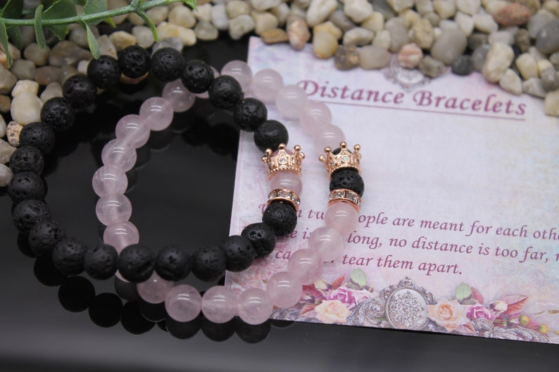 her king his queen ldr for couples bracelet long distance relationship  boyfriend girlfriend couple with 2 pc crowns set cubic zirconia jewel
