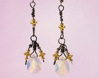 Soft Pink AB Crystal Dangle Earrings #816