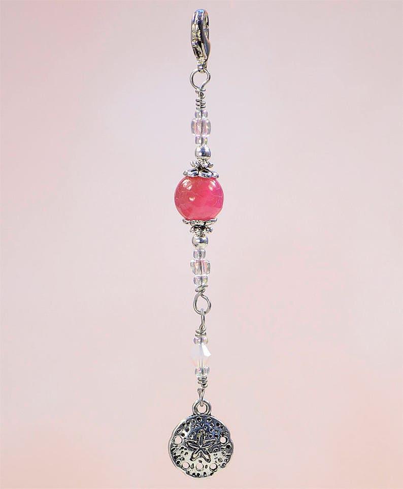 Pink Ocean Sand Dollar Purse Charm Zipper Pull #Z843