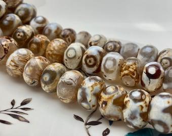 28 pcs 10x14mm orange white color berral shape Tibetan agate beads