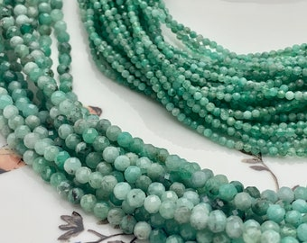 Jewelry Beads Gemstone Findings Bead Strands Gemstone Beads 2.50mm Round Beads Loose Beads Full 15 inch Strand Green Turquoise Beads