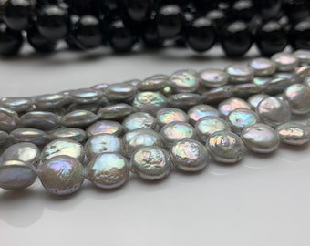 Coin Shape Grey Color full Strand - SKU: 301509 Freshwater Pearl 15 inches