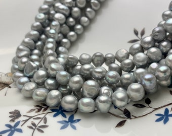 Grey Pearls Inlayed With Cubic Zirconian ~ Grey Pearls ~ 44 Count ~ Oval Pearls ~ 8mm x 7mm