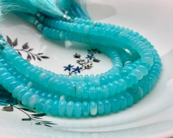 7mm Size Approx. 8 Inch Strand Natural Peruvian Blue Green Opal Faceted Rondelle Shape Beads