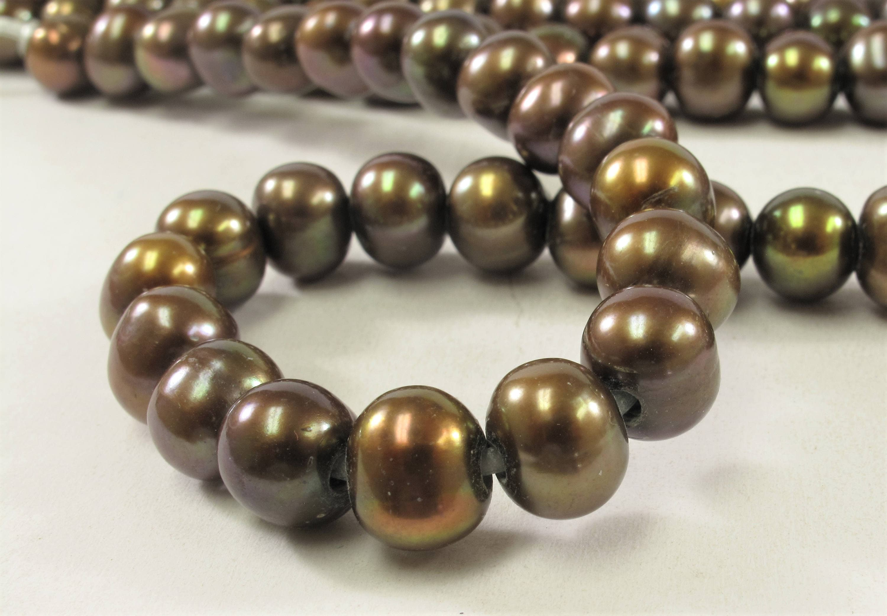 11 to 12 mm AA Large Hole Freshwater Pearl Beads Dark Brown 2.2 mm Hole #160