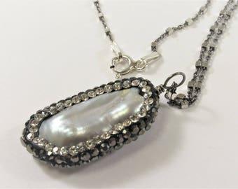 Silver Gray Stick Pearl w/Clear & Hematite Rhinestone/CZ Pearl Pendant Necklace w/925 Sterling Silver Oxidized Chain Necklace (664-NKP18)