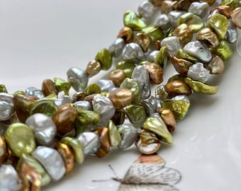 9-11mm AA High Luster Gray Green Champagne Brown Color Keshi Nugget Freshwater Pearl Beads Genuine Center Drilled Keshi Nugget Pearls #P1887