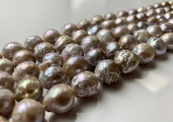 #117 10 to 13 x 21 mm Large Hole Graduated Baroque Freshwater Pearl Peacock