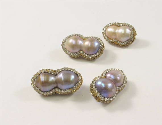 3 Colors Large Hole Baroque Pearl With Pave Gold /& Color Rhinestone Pendant #737