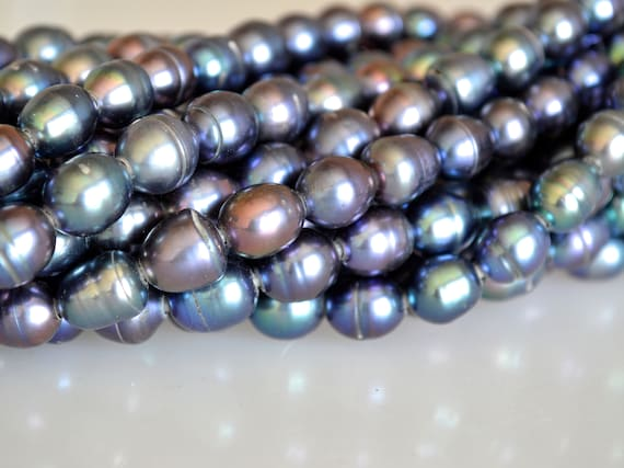 9-10x11-12mm Peacock Large Hole Half Strand Freshwater Pearl Hole 2.2mm #728