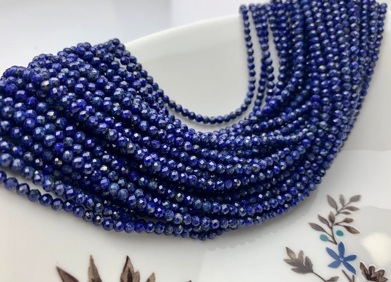 BEST DEAL 2 mm 3 mm AAA 100/% Natural Faceted Round Tiny Lapis Gemstone Beads Genuine Natural Blue Lapis Loose Beads 13 Inches Strand  #2495