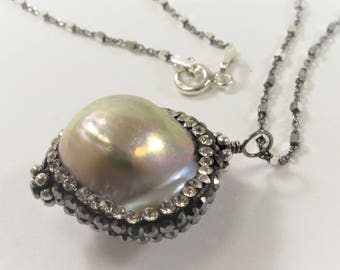 Natural Pink Baroque Pearl w/Clear & Hematite Rhinestone/CZ Pearl Pendant Necklace w/925 Sterling Silver Oxidized Chain Necklace (665-NKP18)