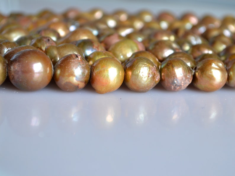 11-12x15-16mm approx Large Hole Graguated Freshwater Baroque Pearl Beads Natural Shape Golden Brownish Color  #755