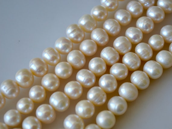 Genuine Natural Pearl 11-12 mm AA Natural White Potato Freshwater Pearls #206