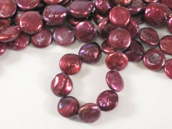 Cranberry Red Coin Pearl Size 10 to 12 mm Genuine Freshwater Pearl #60