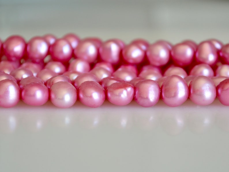 8-9mm Nugget Shape Pink Color Freshwater Pearl Beads Genuine Pearl Beads #828