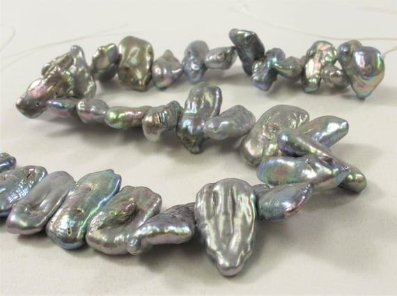 5x8-10mm Biwa Stick Freshwater Pearl Beads Metallic Silver Gray Color  #715