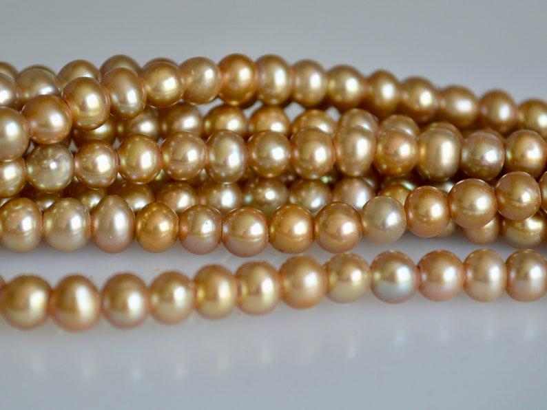 Large Hole Beads 06-LHPCP0607 6-7 mm Large Hole Potato Freshwater Pearl Light Champagne Color Hole Size 1.8mm Large Hole Pearl Beads