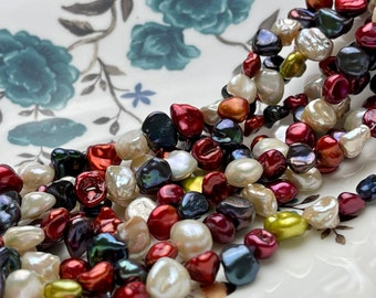 8-10mm AAA High Luster Burgundy Navy Blue Green Natural White Color Keshi Nugget Freshwater Pearl Beads Genuine Keshi Nugget Pearls #P1890