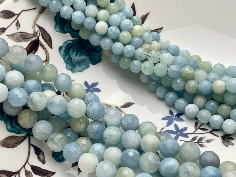 WHOLESALE 6mm 8mm Natural Color Faceted Round  Aquamarine Gemstone Beads  Genuine Natural Multi Color Aquamarine Gemstone Loose Beads  #2410