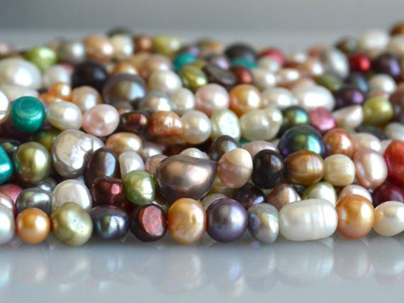 """wholesale  freshwater pearl gray  baroque 6-8mm necklace 60/"""" nature beads"""