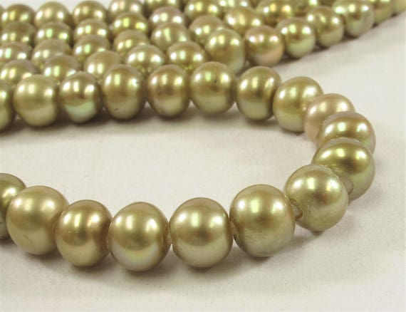 #323 2mm Hole 8.5-10mm Large Hole Potato Pearl Beads in Dark Blue OR Champagne