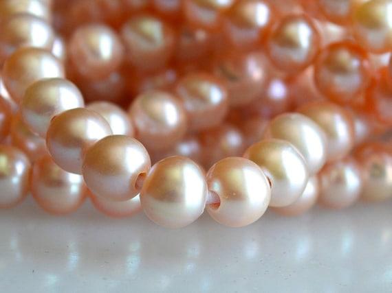 1 x 7-8 mm Peach Freshwater Potato Pearl Strand