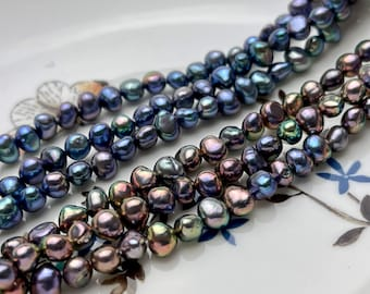 5-6 mm AAA Freshwater Pearl Nugget Freshwater Pearl Beads Genuine Rainbow Peacock Color High Luster Potato Nugget Pearls 74 Beads #P1906