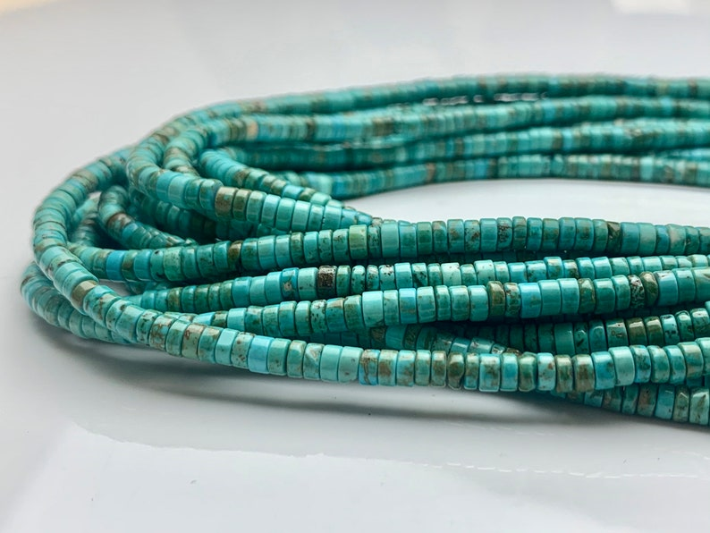 4 mm Natural Turquoise Heishi Rondelle Shape Genuine Natural Multi Color Turquoise Gemstones Loose Beads 15 Inches Strand #3250