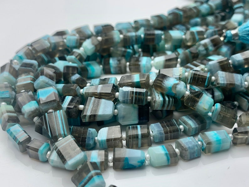 7-8x11-12 mm Faceted Nugget Natural Blue and Gray Color Peru Boulder Opal Beads Genuine Organic Boulder Opal 13 Inches Strand #2955