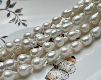 8-9x10-11 mm Natural White Teardrop Baroque Pearl Beads Genuine Natural Freshwater Baroque Pearls 31-35 Beads #P1901