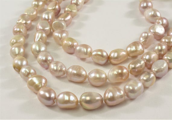 64 inch 8-9 x 10-11mm Natural Pink OR White/&Peacock Pearl Nugget Necklace #225