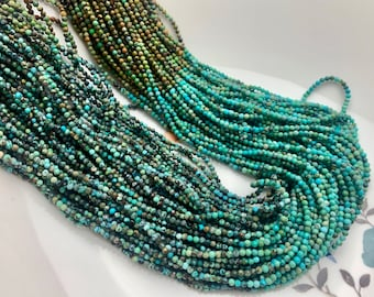 2mm 3mm AAA Faceted Round Tiny Africa Turquoise Gemstone Beads Brown Green Tiny Turquoise Loose Beads 15.5 Inches Strand #3811
