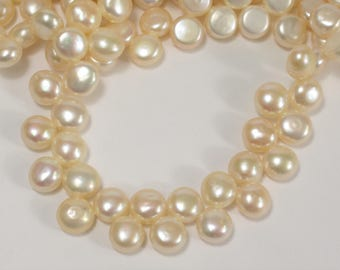 Natural Light Peach Round Button Freshwater Pearl Size 6-7 mm, Genuine Freshwater Pearl, Light Peach Freshwater Pearls  (38-BPH0607)