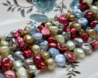 9-11 mm Burgundy Baby Blue Green Gray Natural White Keshi Nugget Freshwater Pearl Beads Genuine Center Drilled Keshi Nugget Pearls #P1891