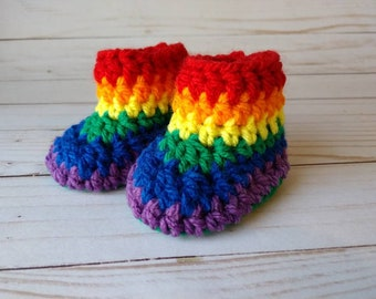 Crochet Youth House Shoe Booties Multi-Colored Unisex Rainbow Bright Blue Red Yellow Green Suede Sole Ready to Ship