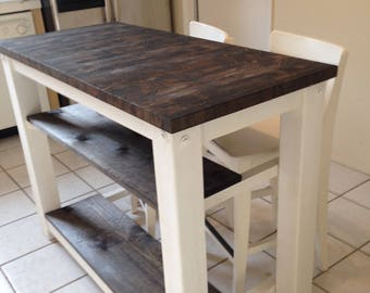Ordinaire 2 Half Shelves, End Grain Kitchen Island Butcher Block Top With Seating For  2, 3 Or 4   Rustic Wood Farmhouse Style Kitchen Table