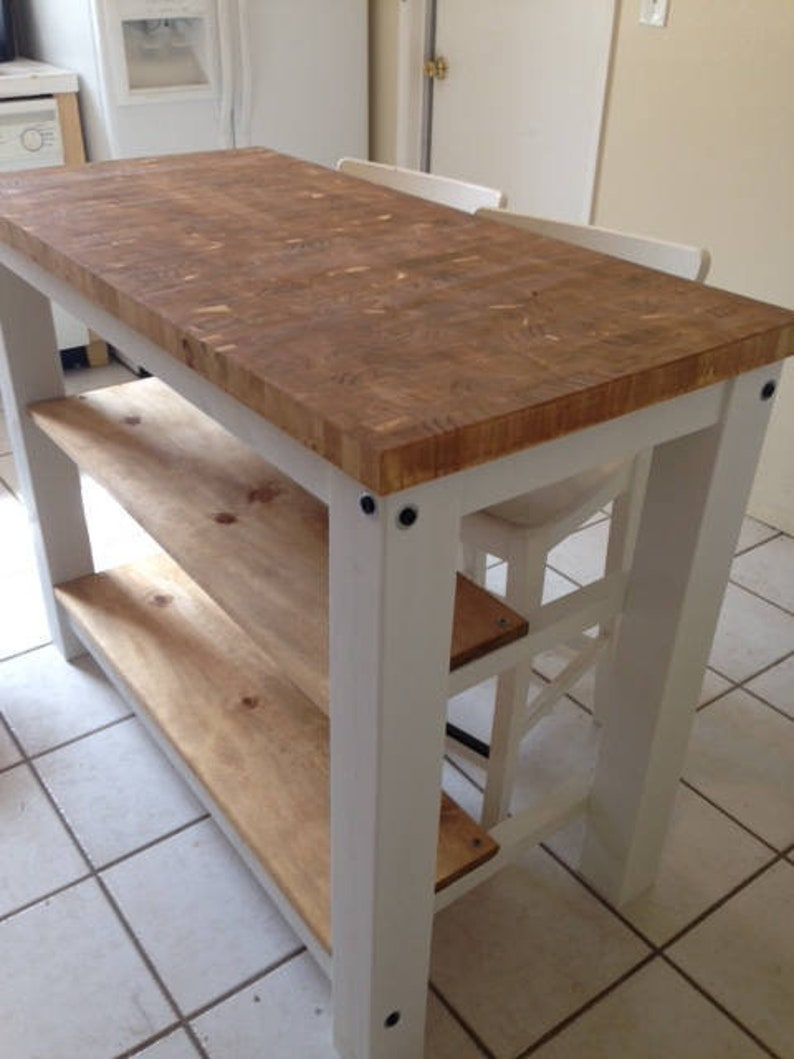 End Grain Kitchen Island butcher block top with seating for 2, 3 or 4 -  Rustic wood farmhouse style kitchen table