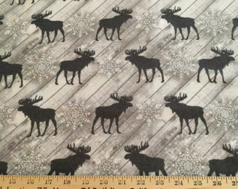 Flannel/Moose silhouettes on gray wood panel cotton fabric by the yard