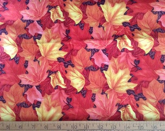 1 yard of orange and yellow Autumn leaves  cotton fabric