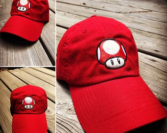53f6358fce0 More colors. Mario Brothers Super Mushroom Power Up Embroiderd Baseball Dad  Hat Strapback Humor Dat Hats ...