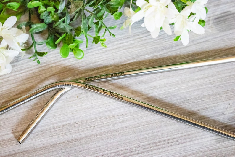 Personalized Reusable Straws, Stainless Steel Straw Wedding Favors for  Guests, Custom Engraved Reusable Straws
