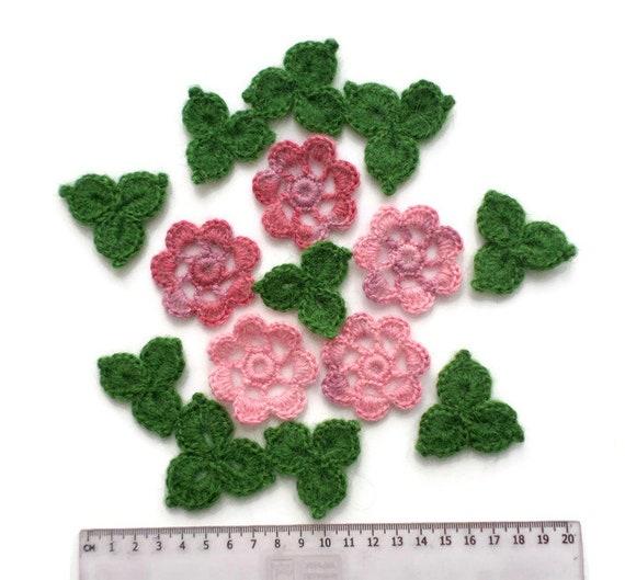 Crochet mohair flowers Tiny flower applique set of 20