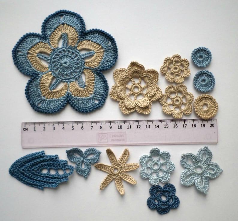 Crochet flowers and leaves beige blue denim Irish crochet lace applique Set of 36 Scrapbook Clothes hats cards Boho Hippie decor