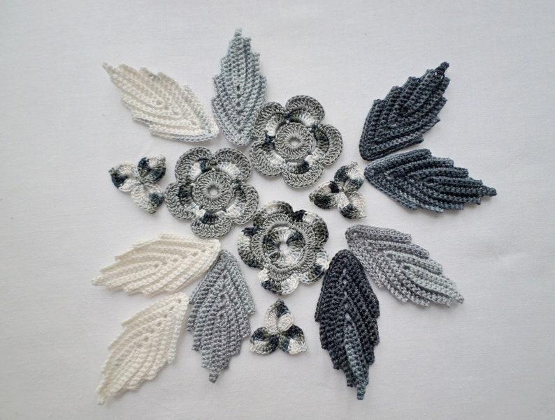 Crochet Motivi Di Foglie Di Fiori Fiore Bianco Grigio Etsy
