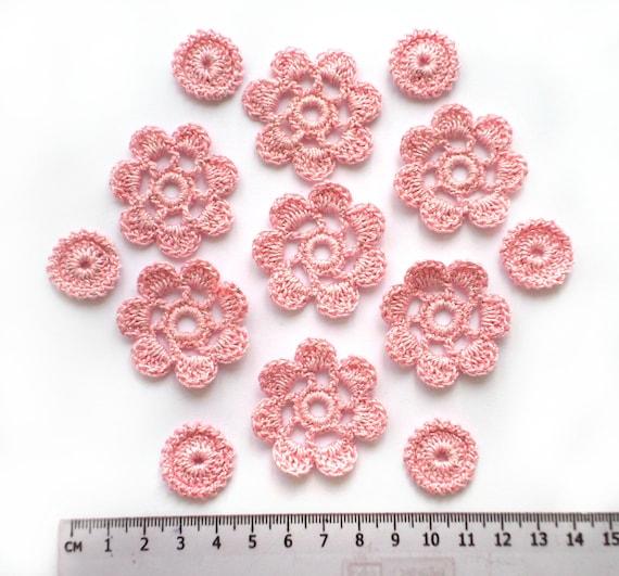 Set of 56 crochet flower motifs Boho hippie clothes decor Scrapbook elements Irish crochet lace flower applique orange crochet decor