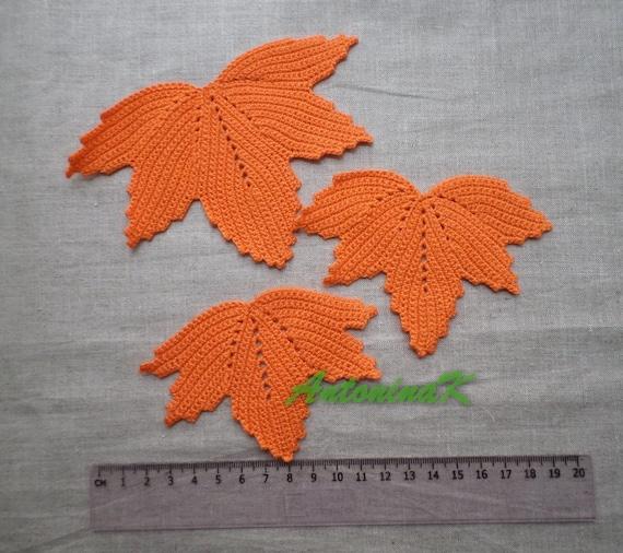 Set Of Crochet Maple Leaves Autumn Orange Leaves Applique Etsy