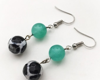 Green, Black and White Dangle Earrings - Summer Jewelry - Springtime Jewelry - Boho Earrings - Everyday Earrings