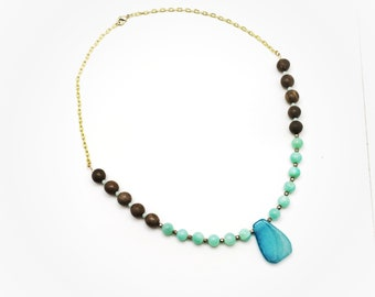 Blue and Wood Gold Beaded Necklace