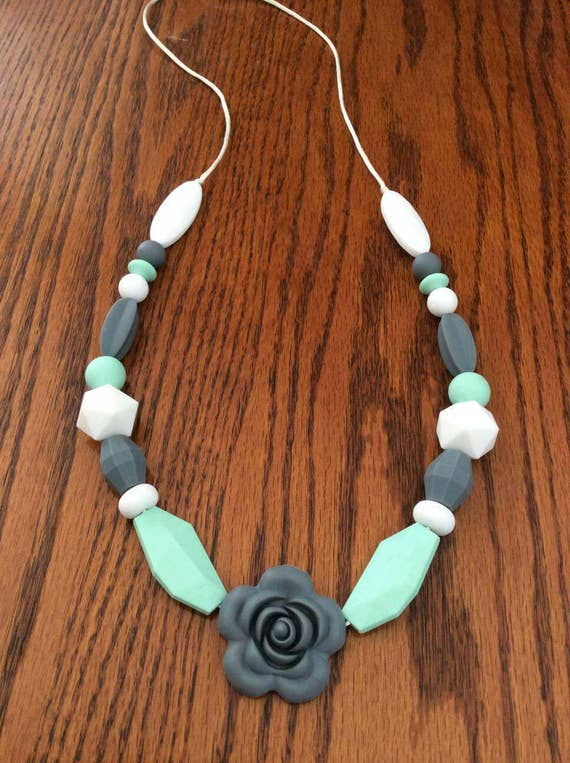 Mom Approved Nursing Necklace,Tranquility By Baby Bites Dishwasher Safe Teething Necklace for Mom to Wear Stylish Teether BPA Free